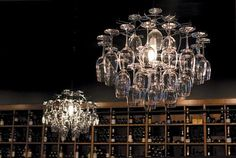 This is fantastic!  A wine glass chandelier.  Art and function in one.