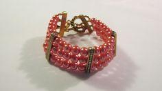 Salmon Glass Pearl Triple strand  bracelet Fall by yasmi65 on Etsy, $18.00