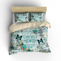 Feelyou Sugar Skull Fitted Sheet Skull Pattern Bedding Set for Boys Girls Children Halloween Themed Bed Sheet Set Skeleton Design Bed Cover Gothic Horror Queen Size Bed Accessories 3Pcs