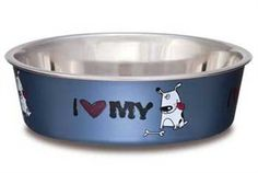 Loving Pets I Love My Dog Bella Bowl for Dogs, Large, Steel Blue * Find out more details by clicking the image : Feeding and Watering Supplies