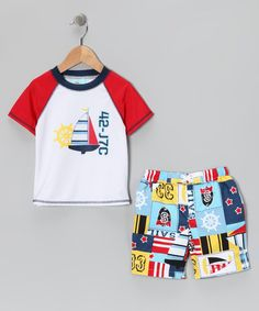Take a look at this Nautical Rashguard & Swim Trunks - Infant, Toddler & Boys by Baby Buns on #zulily today!