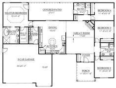 First Floor Plan of Ranch   House Plan 50208