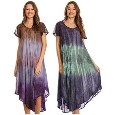 Maya Antonia-PLUS SIZE Cold-Shoulder Tie-dye Ruffle Midi Dress Knee Length