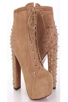 Camel Faux Suede Lace Up Tie Spike Back Platform Booties