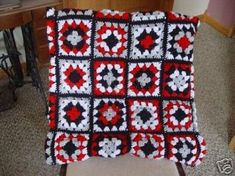 Hand Crocheted Mod Look Granny Square Lap Afghan Hexagon Crochet Pattern, Crochet Squares, Crochet Granny, Irish Crochet, Hand Crochet, Crochet Patterns, Granny Square Afghan, Granny Squares, Crochet Backpack