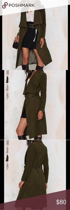 Olive Trench Coat Reposh, never worn.  I really love the cut of this jacket but just not feeling the fabric. Nasty Gal Jackets & Coats Trench Coats