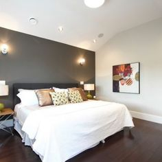 One dark accent wall bedroom