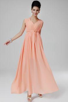 Vestido gasa plisado cuello pico sin manga-rosado