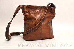 Vintage FRYE Bag - Brown Colombian Leather Crossbody Bucket - 1980s. $75.00, via Etsy.