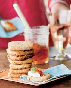 Rosemary Cheese Crackers - I would omit the spicy stuff and cut them much thinner.
