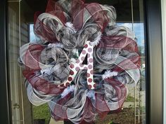 Deco mesh #Bama wreath. This Etsy store also has several other SEC team wreaths available as well. Love it! $55