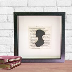 Pride and Prejudice Frame with Jane Austen Silhouette perfect gift for Literacy Lover on Etsy, £32.00