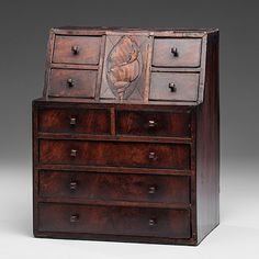 Miniature Chest with Shell Inlay ht. 14, wd. 11.25, dp. 9 in.
