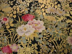 Japanese Cotton Print Fabric - Quilt Gate, Half Yard - Gorgeous Glitter Lame & Traditional Floral Pattern - Black - NT139