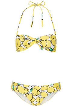 When life gives you lemons, wear them as a bikini! Love the yellow and bandeau top