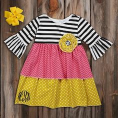 Black Stripe Pink Chevron Citron Double Ruffle Dress