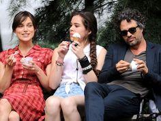 """Greta, Violet, and Dan eating some ice cream (""""Begin Again"""")"""