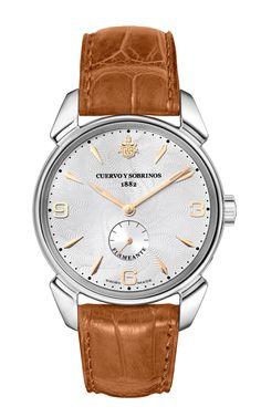 Cuervo y Sobrinos 3130.1FA Men's Swiss Luxury Watch Historiador Hand-Winding Steel Argenté Honey Matte Strap