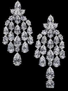 Harry Winston diamond chandelier waterfall earrings.