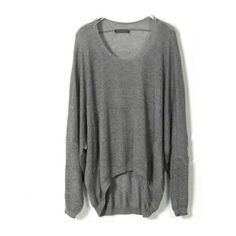 Gray Knitted Sheer Jumpers with Dip Hem ($41) ❤ liked on Polyvore