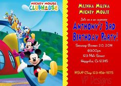 Mickey Mouse Clubhouse Birthday Invitation in Home & Garden, Greeting Cards & Party Supply, Greeting Cards & Invitations | eBay