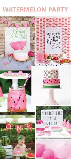 4 Party Themes We Adore - Watermelon Birthday Party - One In A Melon We like to party, we like- we like to PARTY! This week we are bringing you some new party inspiration! What are your favorite party themes? Watermelon Birthday Parties, 1st Birthday Party For Girls, Girl Birthday Themes, 1st Birthday Girl Party Ideas, Birthday Celebration, Themes For Birthday Parties, Party Themes For Girls, Cool Party Themes, Cute Themes