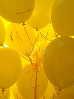 Yellow Balloons by Hedy De Bats Yellow Aesthetic Pastel, Aesthetic Colors, Pastel Yellow, Aesthetic Collage, Shades Of Yellow, Mellow Yellow, Aesthetic Pictures, Neon Yellow, Purple