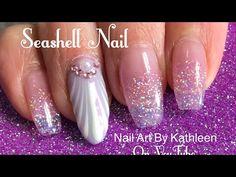 Seashell Nail Art Using Gel Polish And Chrome Powder - My Vacation Nails - YouTube #seashell #seashellnail #nailart #naildesign #glitternails