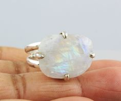 NATURAL RAINBOW MOONSTONE RINGS SOLID SILVER 925 STERLING JEWELRY 9 GM US 9 #Unbranded