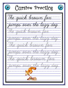 Cursive Practice – Sentence This cursive worksheet has the dotted lines for tracing the cursive letters. The sentence contains each letter of the alphabet for practice. Cursive Handwriting Sheets, Cursive Writing Practice Sheets, Teaching Cursive Writing, Writing Sentences Worksheets, Handwriting Practice Worksheets, Learn Handwriting, Cursive Alphabet, Handwriting Analysis, Learn Cursive