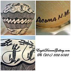 Large Fine Line Lizard Pot By Acoma Potter Sharon Stevens.