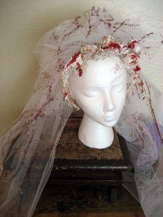 Blood Splattered Wedding Veil. Vintage Upcycled. Zombie Bride, Dead Bride, Psycho, Vampire Costume. $29.00, via Etsy.