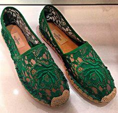 Valentino #green #lace #espandrilles