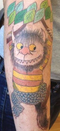 """""""My """"Wild Thing"""" tattoo in homage to Maurice Sendak's recent passing. As a librarian and lifelong lover of the book,Where the wild things are,it just made perfect sense to get my favorite wild thing on me forever! My whole arm is turning into a sleeve related to children's literature or literature about children.  Done by the amazing Jean Chen at Diving Swallow tattoo in Oakland, CA. Jean has done some of my other tattoos and is always conscientious and precise. I highly..."""""""