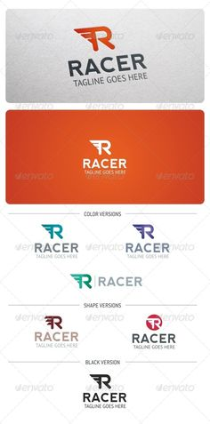 Racer Logo Template  #GraphicRiver         Racer Logo is highly suitable for any businesses. Is especially recommended for Racing, Auto and Moto businesses, Repair shop, Rental, Tuning, Delivery, Sport and many other.  Features:  3 Vector files included: AI, EPS, and CDR   3 Color versions   2 Shape versions   1 Grayscale Version  1 Black & White version  Organized
