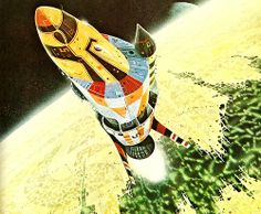 """Painting by Colin Hay from """"Terran Trade Authority Handbook: Spacecraft 2000 to 2100 AD"""" by Stewart Crowley, Sci Fi Kunst, Science Fiction Kunst, Perry Rhodan, 70s Sci Fi Art, Sci Fi Ships, Classic Sci Fi, Sci Fi Fantasy, Space Fantasy, Illustrations"""
