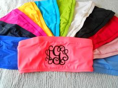 Monogram Bandeau Swim Suit Top Font Shown INTERLOCKING. $33.99, via Etsy.
