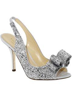 Kate Spade Charm Silver Glitter Slingbacks