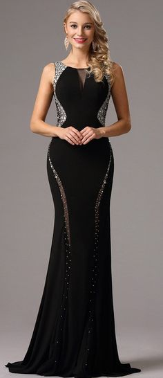 <img> eDressit Black Formal Gown with Beaded Plunging Back -