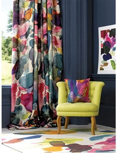 Summer Drinks and Stubborn Gladness Love the idea of bright curtains and furniture with dark walls. MoreLove the idea of bright curtains and furniture with dark walls. Bright Curtains, Dark Walls, Decor, Curtains Living Room, Curtains Bedroom, Home Curtains, Curtain Designs, Colorful Interiors, Home Decor