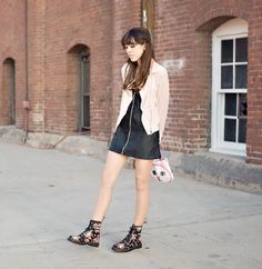 Everly Pink Chiffon Jacket, Unif Black Leather Dress, Dr. Martens Black And Floral Boots