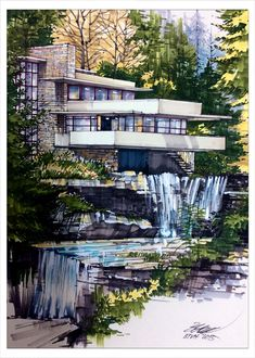 Frank lloyd Wright Falling water house Draw by Bui Thanh Viet Hung Course . - Frank lloyd Wright Falling water house Draw by Bui Thanh Viet Hung Course Architectural expression, - Architecture Concept Drawings, Architecture Sketchbook, Amazing Architecture, Landscape Architecture, Landscape Design, Architecture Design, Falling Water Architecture, Architecture Definition, Online Architecture