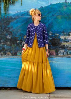 Marni at H blue dot jacket, Gypsy Junkies maxi dress, Los Angeles fashion blog, California street style
