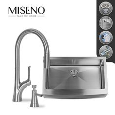 """Buy the Miseno MSS163320F/MK171-SS Stainless Steel Faucet Direct. Shop for the Miseno MSS163320F/MK171-SS Stainless Steel Faucet 33"""" Single-Bowl 16 Gauge Stainless Steel Kitchen Sink with Pullout Spray Faucet and save."""