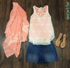 Perfectly Pretty In Pink #PPP30810 Isn't this outfit the cutest?!?! An adorable coral lightweight open cardigan in a tone on tone tribal print. We layered a white lace tank top underneath with a coral NikiBiki tank top underneath that. Layering your clothes is a must during the spring. These tops are perfectly paired with these Level 99 Denim shorts. A fun white statement necklace and a pair of our gold metallic sandals are the perfect amount of bling to complete this absolutely adorable…