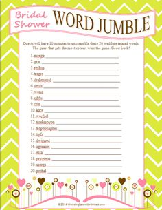 FREE Bridal Shower Word Jumble Game (Word) | Buy at Wedding Favors Unlimited (http://www.weddingfavorsunlimited.com/free_bridal_shower_word_jumble_game.html).