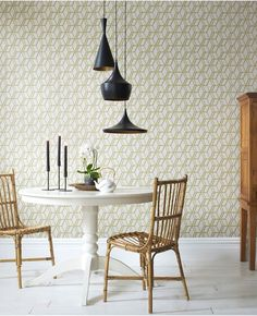 Combine geometric wallpaper with a trio of Tom Dixon's Beat pendants.