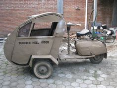 kind of frontal side-car Scooter: Hell Rider,   says it all