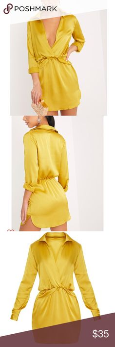 Gold dress New with tags. Silky, great quality. Perfect for those with long legs, curves, or slim.... super comfortable! Ask any questions ..... uk size os 10. prettylittlething Dresses Mini