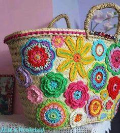 Scrap Yarn Crochet, Love Crochet, Crochet Motif, Crochet Handbags, Crochet Purses, Crochet Flower Patterns, Crochet Flowers, Diy Tote Bag, Unique Purses